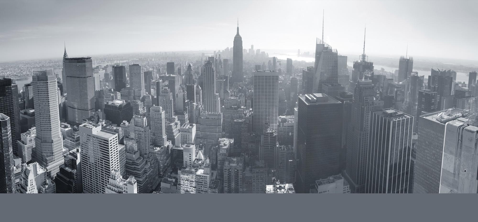 панорама города фото черно белое